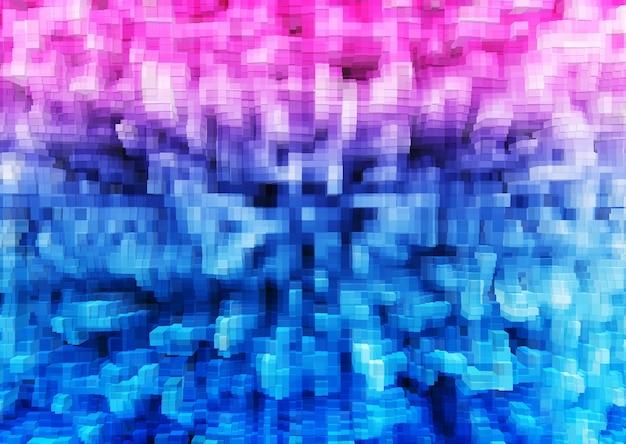 Fond d'illustration de blocs 3d extrudés rose et bleu 8 bits