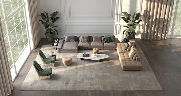Fond intérieur de luxe avec fenêtres panoramiques et vue sur le paysage naturel illustration de rendu 3d