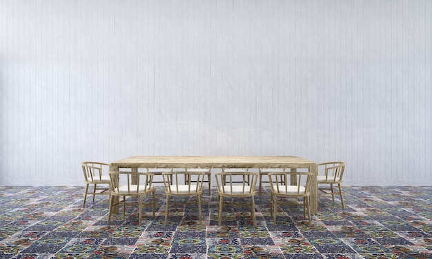 Fond intérieur de maison avec table et chaises en bois et décor de maquette dans la salle à manger texture de mur en béton rendu 3d
