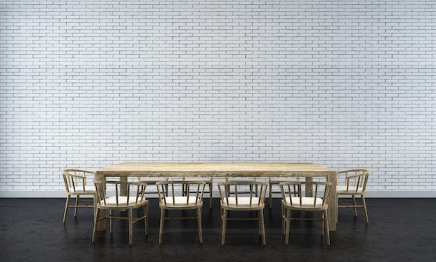 Fond intérieur de maison avec table et chaises en bois et décor de maquette dans la salle à manger texture de mur de briques rendu 3d