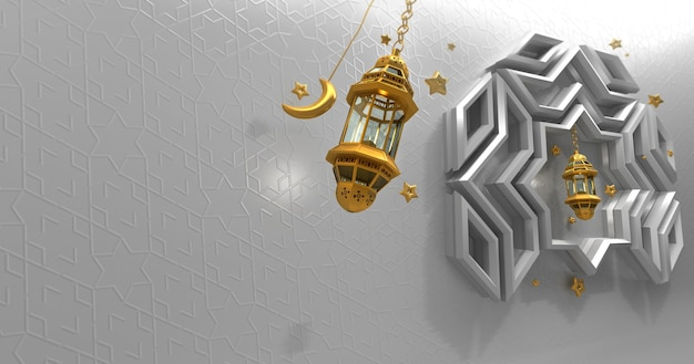 Fond islamique avec étoile de lanterne de croissant de lune et rendu 3d réaliste de modèle arabe