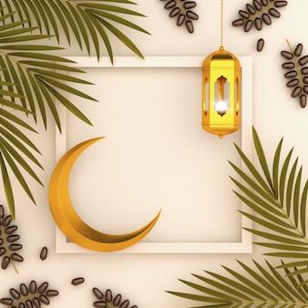 Fond islamique avec des feuilles de palmier dattier lanterne et croissant