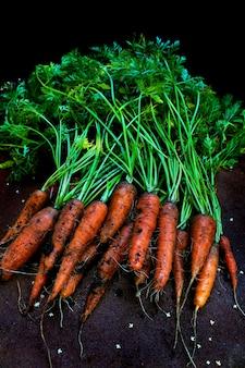 Fond de jardin de carottes de légumes frais