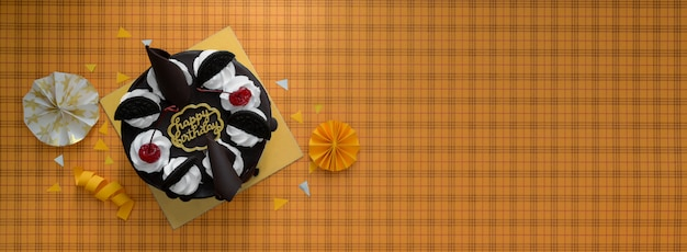 Fond jaune avec gâteau forêt-noire
