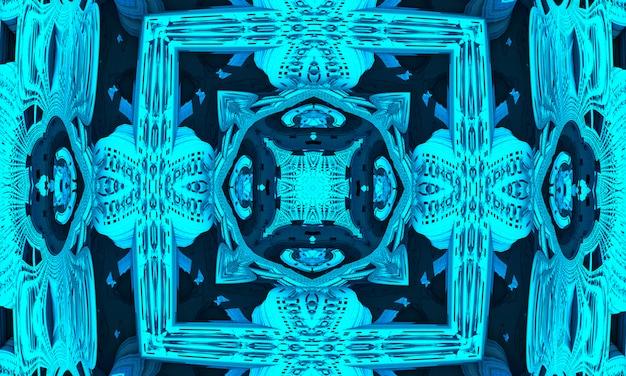Fond de kaléidoscope cyan, emballage cadeau et concept de papier peint.