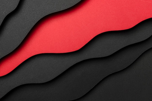 Fond de lignes obliques noires et rouges ondulées