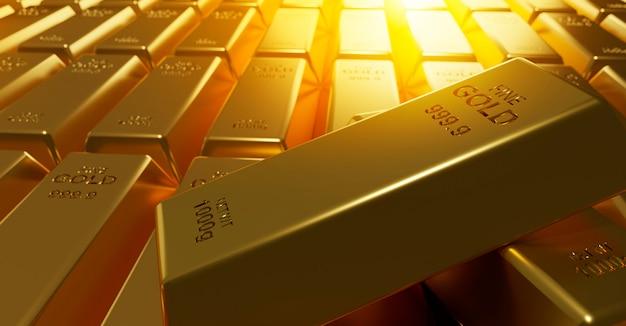 Fond de lingots d'or rendu 3d