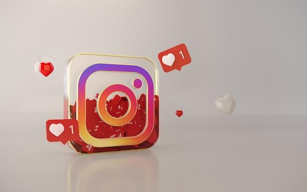 Fond de logo application instagram 3d