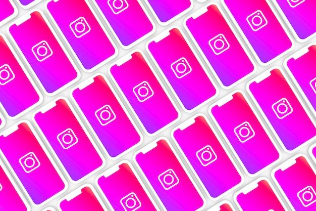 Fond de logo instagram sur smartphone à écran ou rendu 3d mobile