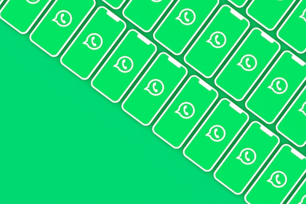 Fond de logo whatsapp sur écran smartphone ou rendu 3d mobile
