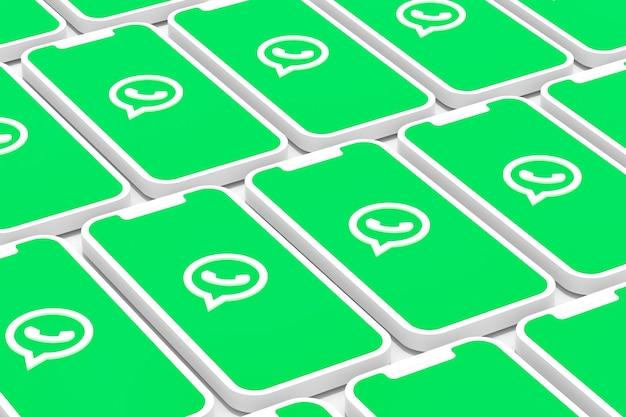 Fond de logo whatsapp sur smartphone à écran ou rendu 3d mobile