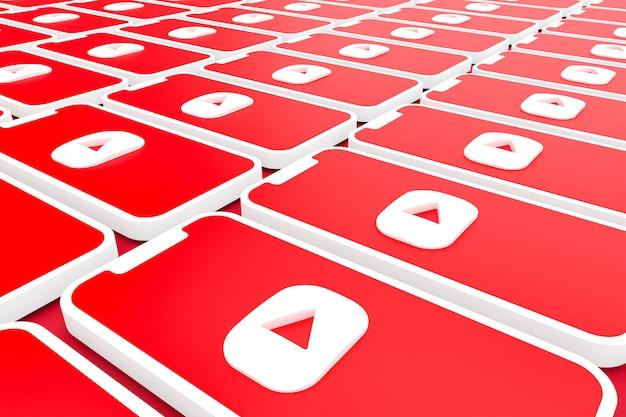 Fond de logo youtube sur smartphone à écran ou rendu 3d mobile