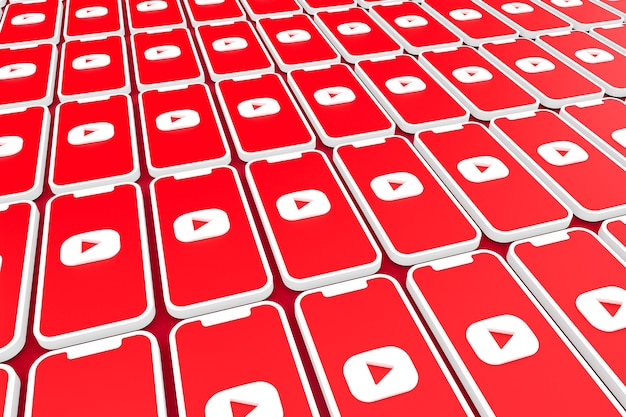 Fond de logo youtube sur smartphone écran ou rendu 3d mobile