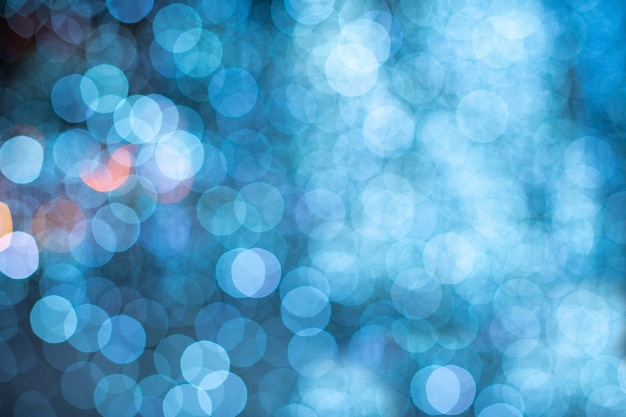 Fond de lumières floues bleu bokeh