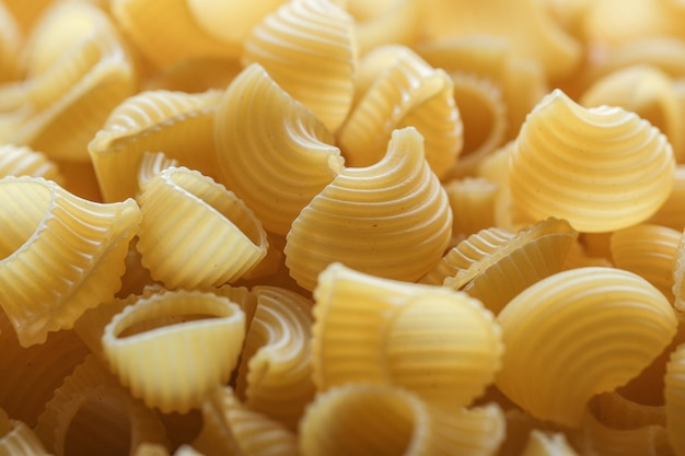 Fond de macaroni sec gros plan. fond de cuisine texturé de nourriture.