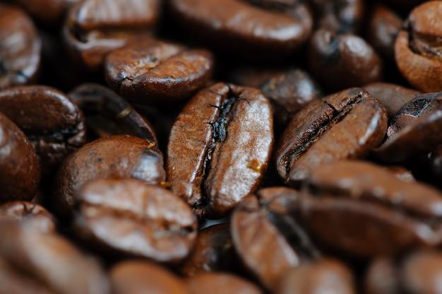Fond macro de grains de café torréfiés