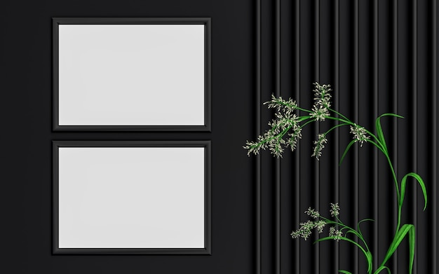 Fond de maquette de cadre photo horizontal de luxe sombre avec des feuilles vertes rendu 3d