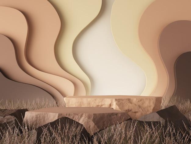 Fond de maquette de couleur de lait au chocolat concept rendu 3d