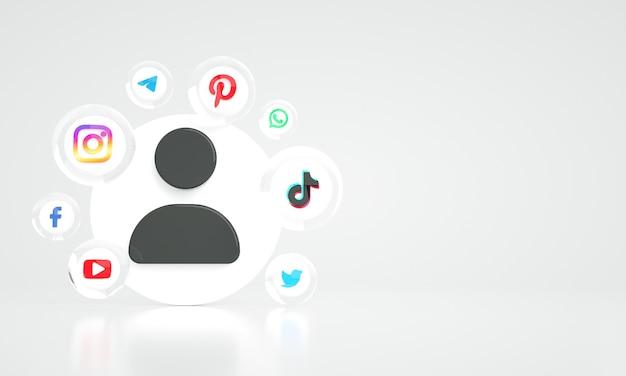 Fond de marketing numérique des médias sociaux 3d avec photo premium de l'espace de copie