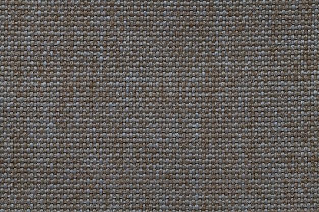 Fond marron foncé et bleu de tissu d'ensachage tissé dense, structure du textile