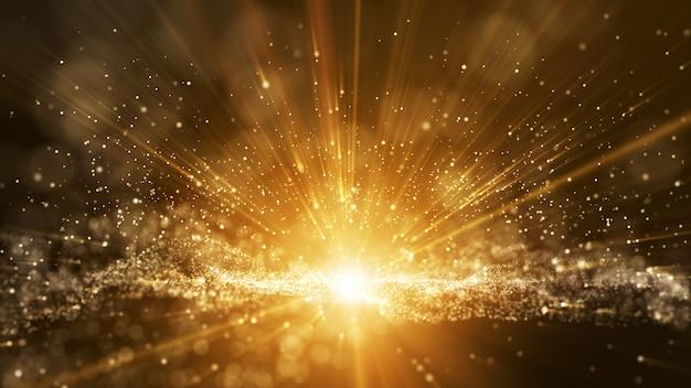 Fond marron foncé, signature numérique avec des particules.