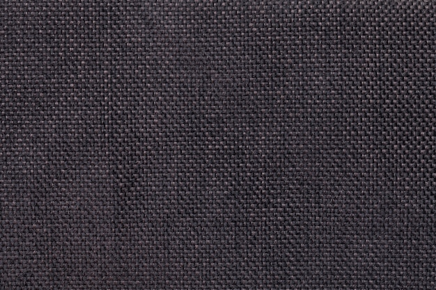 Fond marron foncé de tissu d'ensachage tissé dense, gros plan