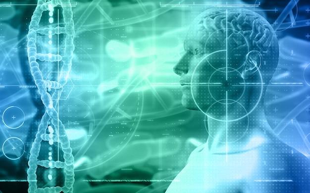 Fond médical 3d avec figure masculine avec des brins de cerveau et d'adn
