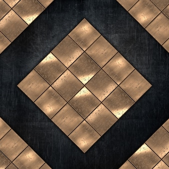 Fond en métal grunge avec plaques métalliques dorées