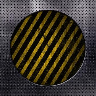 Fond métallique avec cercle découpé et rayures grunge jaune et noir