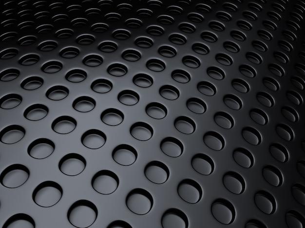 Fond métallique noir avec beaucoup de points perforés