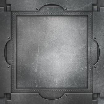 Fond métallique avec des rayures et des taches et des rivets