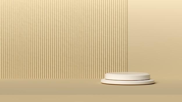 Fond minimal, maquette avec podium pour l'affichage du produit, forme de géométrie blanche abstraite