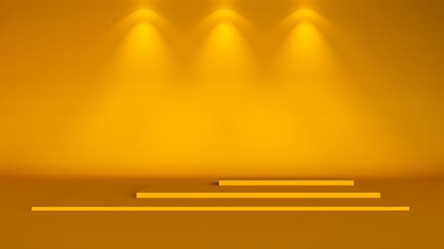 Fond minimal, maquette de scène avec podium pour l'affichage du produit. rendu 3d