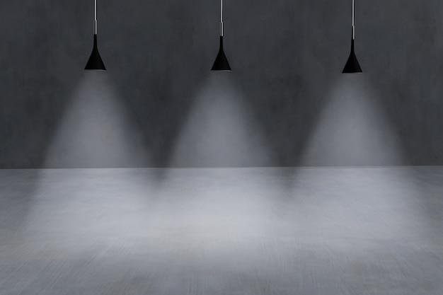 Fond minimaliste en béton avec 3 lumières froides pour illuminer un podium - rendu 3d.