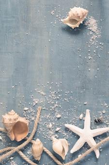 Fond monochrome blanc et bleu avec objets marins, espace pour le texte, teinté