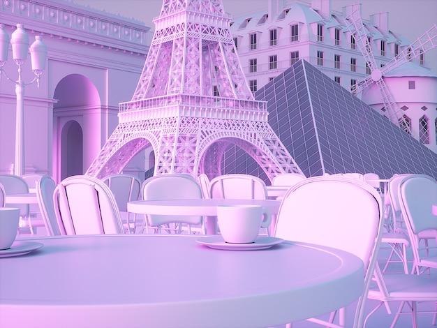 Fond de monuments de paris. rendu 3d de haute qualité