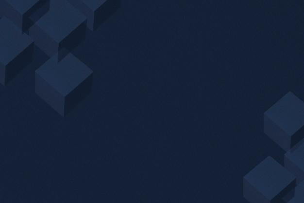 Fond à motifs cubiques en papier bleu nuit 3d