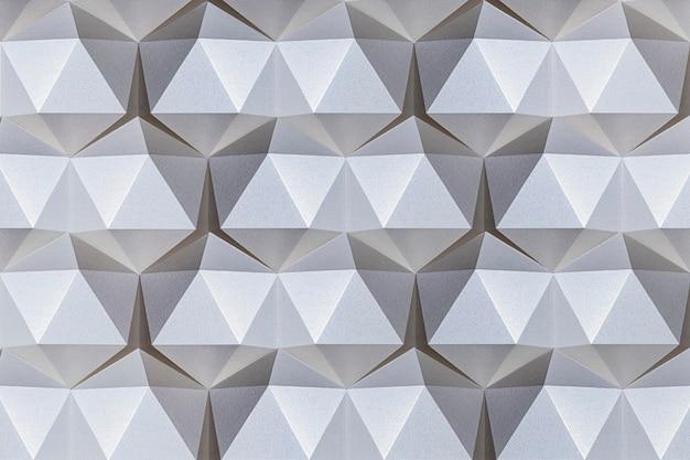 Fond à motifs d'icosaèdre artisanal en papier argenté 3d
