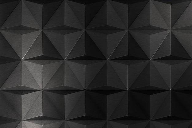 Fond à motifs de tétraèdre artisanal en papier gris foncé 3d