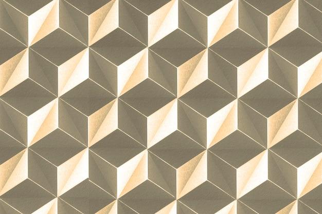 Fond à motifs de tétraèdre d'artisanat en papier d'or 3d