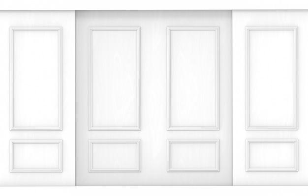 Fond de mur en bois modèle classique blanc de luxe.