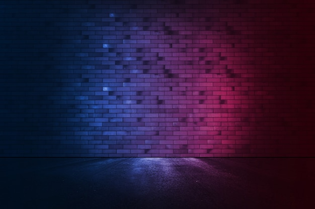 Fond de mur de brique avec néon.