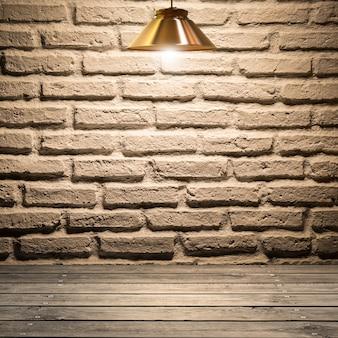 Fond de mur de briques blanches sur plancher en bois avec lampes