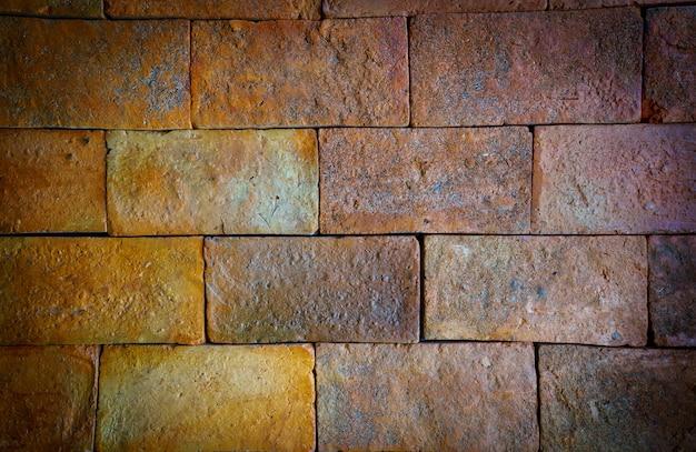 Fond de mur gros brique rouge gros avec la texture de design d'intérieur vieux. vignett et style vintage.