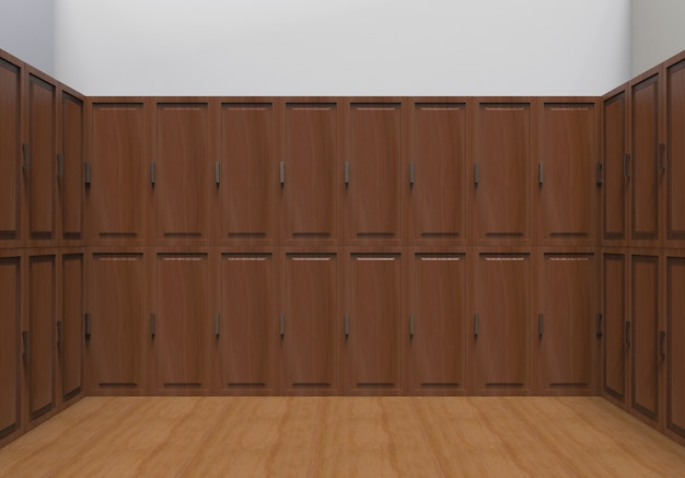 Fond de mur de rangée de casier en bois marron foncé.