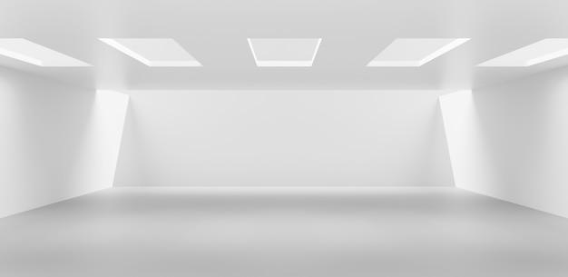 Fond de mur de la salle intérieure blanche et conception d'architecture vide de sol de maison moderne et abstrait sur un affichage de toile de fond de décoration d'espace vide intérieur avec un concept contemporain. rendu 3d.