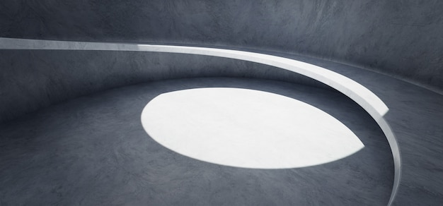 Fond de mur et de sol en béton avec structure d'escalier en colimaçon. rendu réaliste de photo 3d