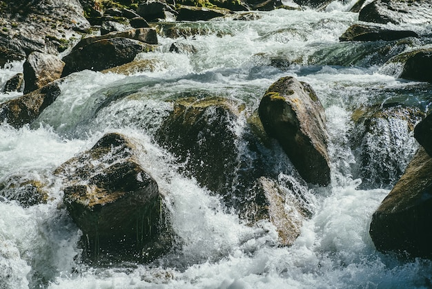 Fond de nature colorée avec de gros rochers moussus dans le flux turbulent de la rivière de montagne en journée ensoleillée. de grosses pierres avec des mousses dans un jet d'eau au soleil. beaux rapides en rivière rapide. ruisseau de montagne.