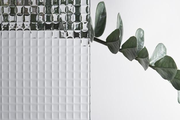 Fond de nature avec feuille derrière le verre à motifs