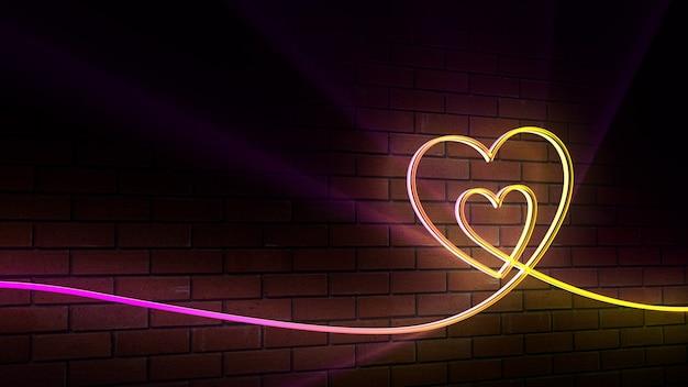 Fond néon, coeur, briques, club, lueur, amour, saint valentin